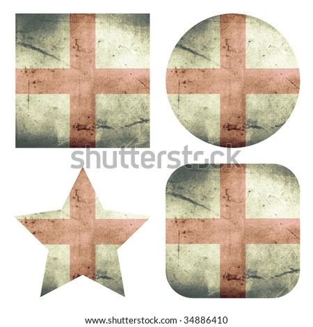 set of 4 grunge flag buttons of england - stock photo