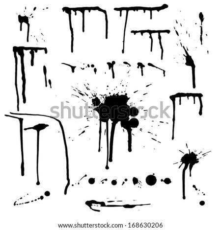 Set of grunge ink splashes.  - stock photo