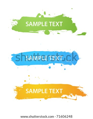 Set of grungy colored banners - stock photo