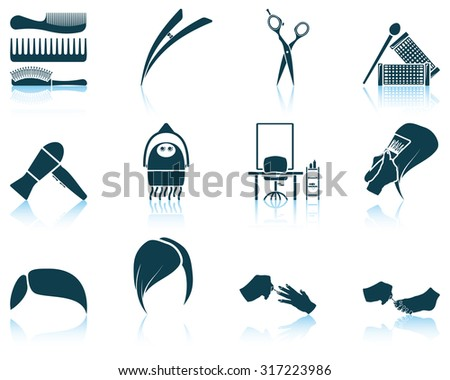 Set of hairdresser icon. Raster illustration. - stock photo