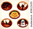 Set of Halloween Design Illustrations, labels with classical symbols - stock photo