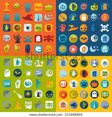 Set of halloween icons - stock photo