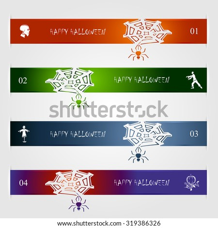 Set of Halloween infographics with icons,  banner, illustration.
