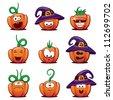 Set of Halloween Pumpkin Icons - stock vector