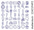 set of 49 hand draw web icon design elements, raster version - stock photo