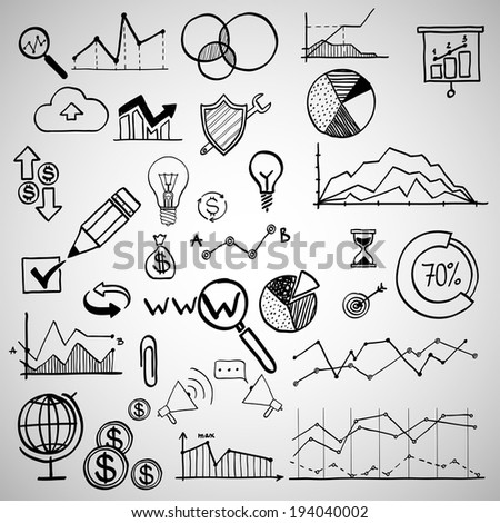 set of hand drawn business finance elements, raster version. Concept - bank, stats, economy, money - stock photo