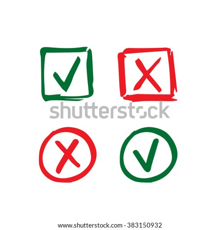 Set of hand-drawn check mark icons. Tick and cross in circle and square frame - stock photo