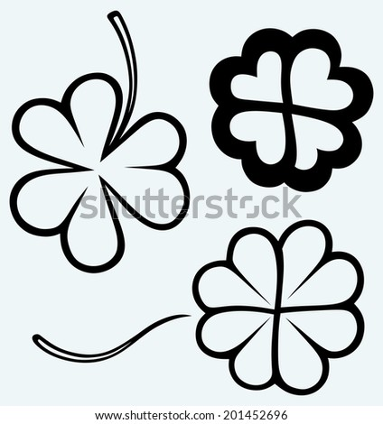 Set of hand drawn clovers. St. Patrick's day. Image isolated on blue background. Raster version - stock photo