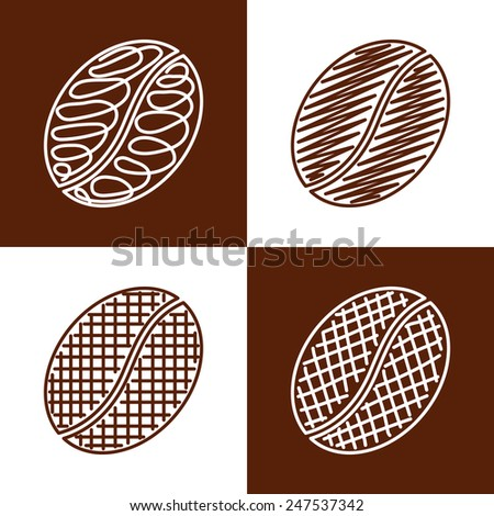 Set of hand drawn coffee beans. Grunge style icons collection - stock photo