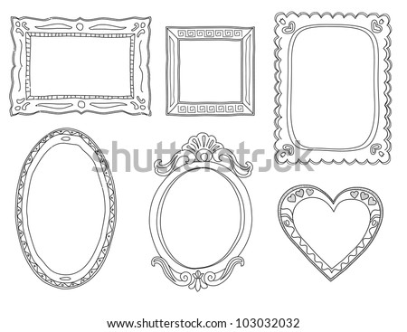 Set  of hand-drawn doodle frames - stock photo