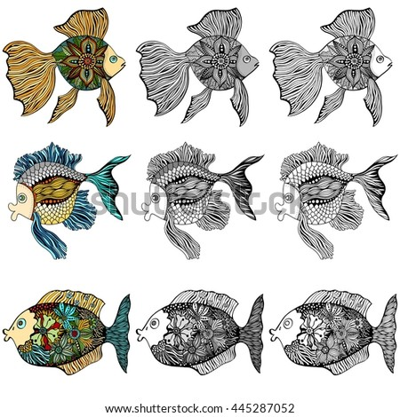 Set of Hand Drawn Fishes. doodle Art illustration isolated on white background. Sketch for tattoo or makhenda. Sea food collection.