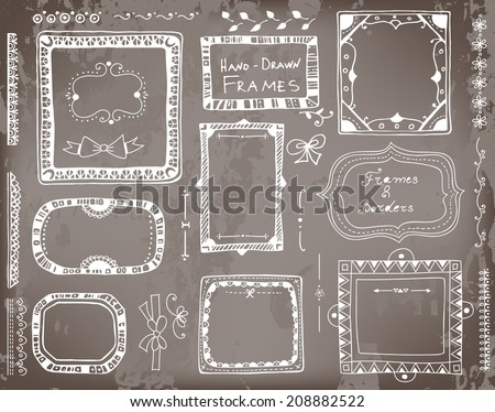 Set of hand - drawn floral and geometrical elements for  design- frames, borders, dividers and bows on chalkboard  background.