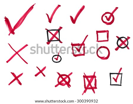 Set of hand-drawn marker checkmarks and crosses with and without boxes isolated on white background - stock photo