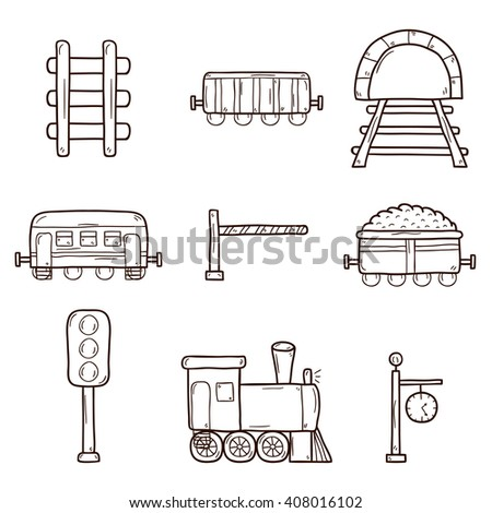 Set of hand drawn railroad icons: wagons, semaphore, railway station clock, locomotive, barrier, tunnel. Transport shipping delivery or travel concept - stock photo