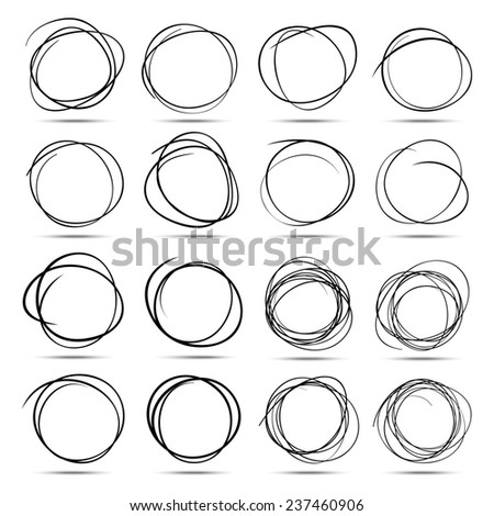 Set of 16 Hand Drawn Scribble Circles, raster design elements - stock photo