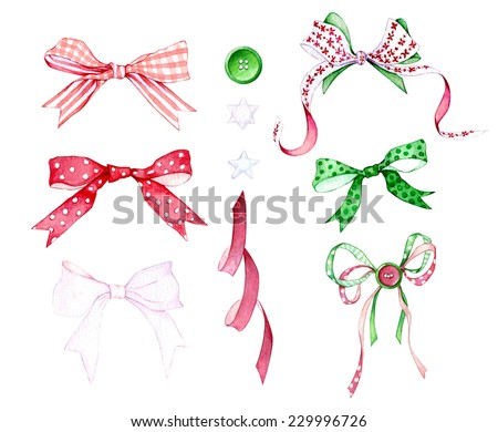 Set of hand drawn watercolor Christmas elements with bows, ribbons and buttons. - stock photo
