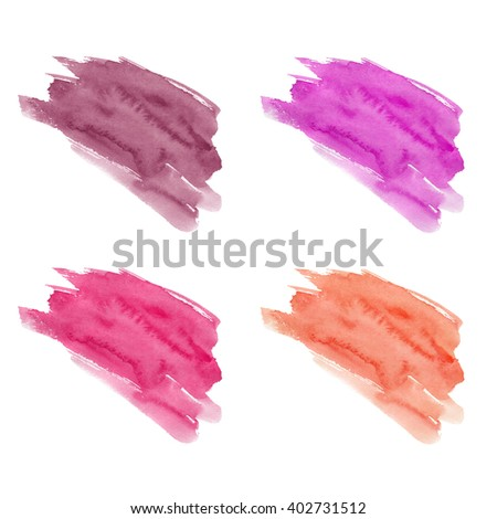 Set of hand drawn watercolor stains. Red, crimson, eggplant and magenta colors. Juicy and bright colors. It can be used for wrap, wallpaper, website, pattern, decor, print. - stock photo