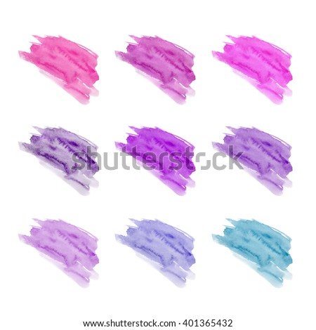 Set of hand drawn watercolor stains. Red, pink, purple, lilac, blue, fuchsia, magenta colors. Juicy and bright colors. It can be used for wrap, wallpaper, website, pattern, decor, print.