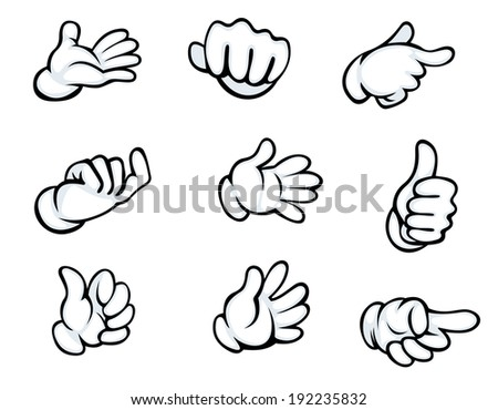 Set of hand gestures in cartoon style for comics design. Vector version also available in gallery - stock photo
