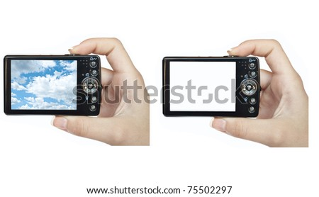 Set of hand holding digital camera