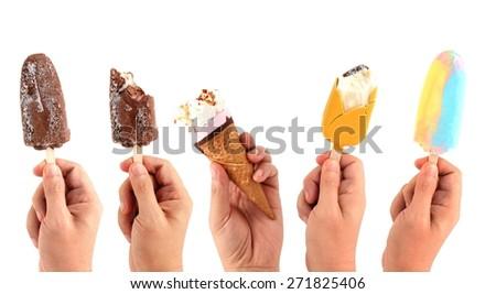 set of hand holding Ice cream sticks isolated on white - stock photo