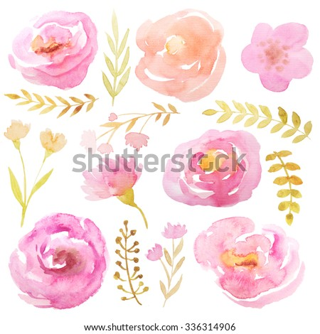 Set of hand painted watercolor flowers, leaves and branches. Isolated objects on a white background. Pink floral clip art perfect for card making and DIY project
