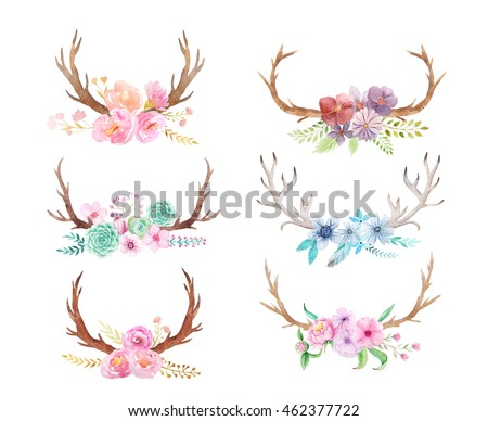 Set Of Hand Painted Watercolor Flowers Leaves Antlers And Berry In Rustic Style