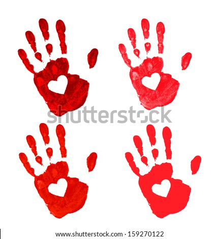 Set of Hand prints with heart icon, raster illustration  - stock photo