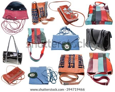 set of handmade ladies bags isolated on white background - stock photo