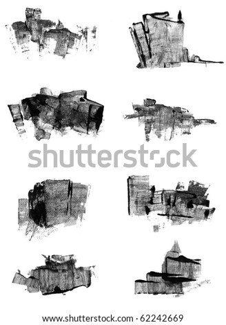 Set of handpainted urban abstracts , nice design elements or icons for your projects. - stock photo