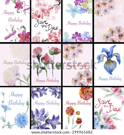 Set of handpainted watercolor flowers card. Design element for summer wedding, spring congratulation card. Perfect floral elements for save the date card. - stock photo