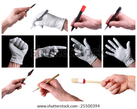 Set of hands - stock photo