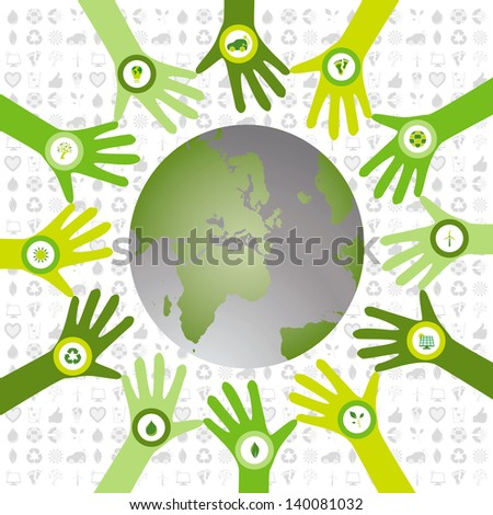 Set of hands in a circle pattern and filled with bio icons waiving to a green environmental and sustainable world - stock photo