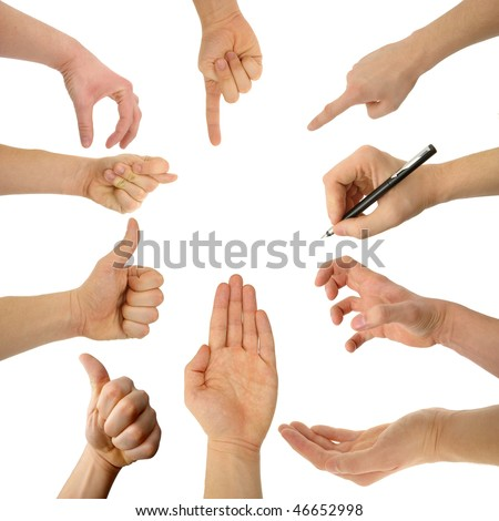 set of hands with clipping paths - stock photo