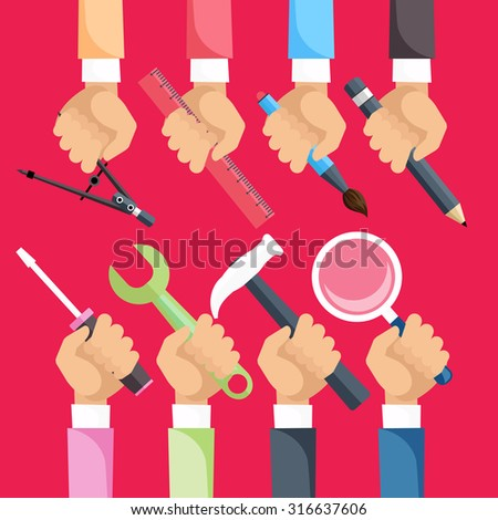 Set of hands with construction tools. House renovation background. Flat icon modern design style concept on red. Design and Architectural. Raster version - stock photo