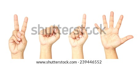Set of hands with sign or symbol 2015 isolated on white background