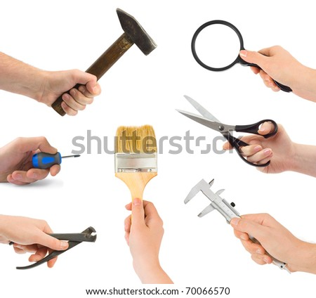 Set of hands with tools isolated on white background - stock photo