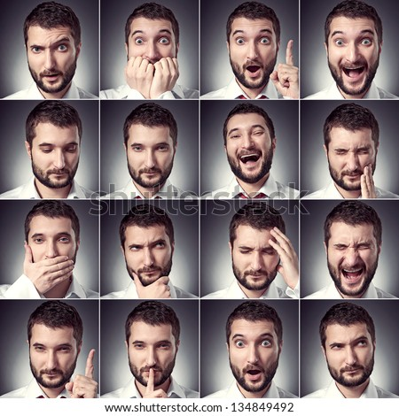 set of handsome emotional man over dark background