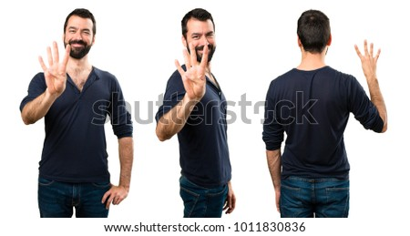 Set of Handsome man with beard counting four