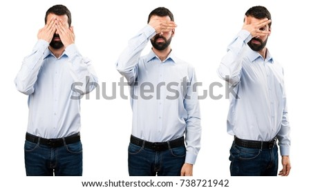 Set of Handsome man with beard covering his eyes