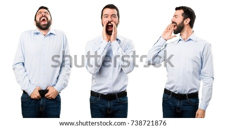 Set of Handsome man with beard shouting