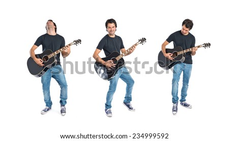 Set of Handsome man with guitar over white background - stock photo