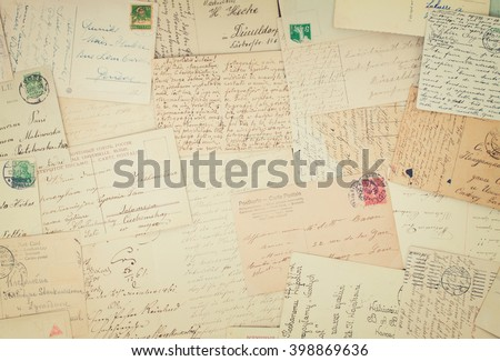 Set of handwritten antique letters old vintage background, retro toned - stock photo