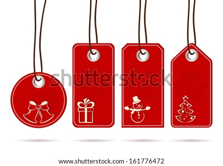 Set of hanging red tags with white christmas motifs