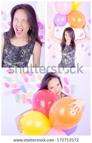 set of happy girl with balloons, party theme - stock photo