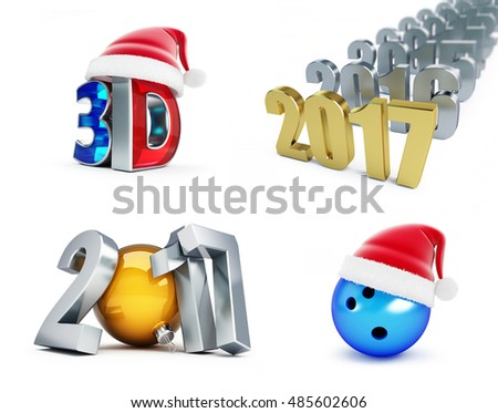 set of happy new year 2017, 3d movie, Bowling Ball, 3d Illustrations on a white background