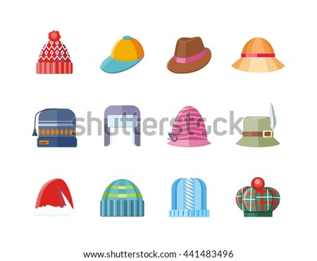 Set of hat flat design collection. Man winter hat isolated, fashion ladies hat accessory clothing wear, christmas hat, retro vintage woman hat elegance  illustration - stock photo