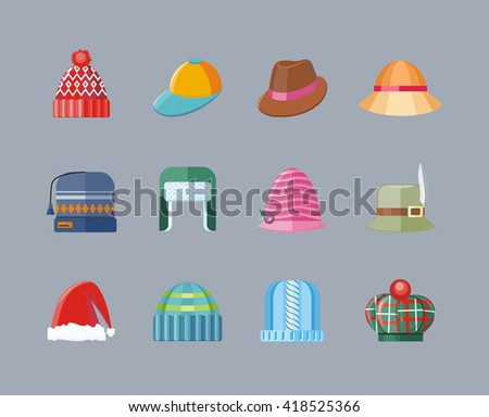 Set of hat flat design collection. Woman hat isolated, fashion ladies hat accessory clothing wear, christmas hat, retro vintage woman hat elegance  illustration - stock photo