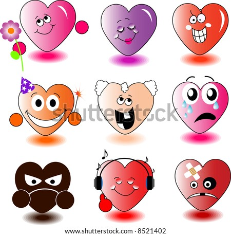 Set of heart-smileys. Vector illustration. - stock photo