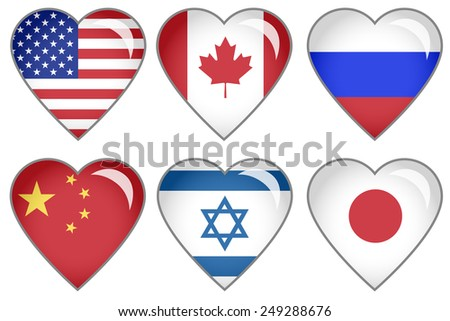 Set of hearts with national flag motive - stock photo